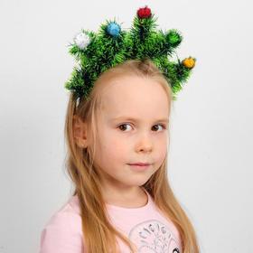 Кокошник «Ёлочки зелёные» с цветными шариками