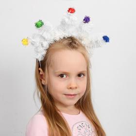Кокошник «Ёлочки белые» с цветными шариками, виды МИКС