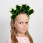 """Кокошник """"Елочки зеленые с белыми шариками"""