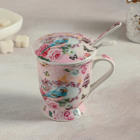 """Mug 350 ml of """"birds"""" with a sifter, a spoon and a lid"""