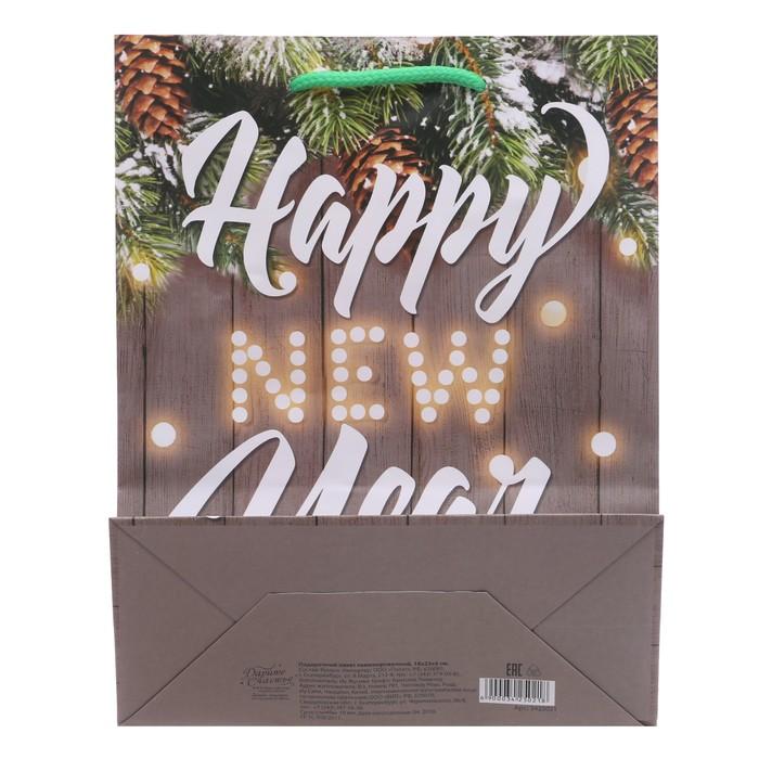 Пакет ламинированный вертикальный Happy New Year, 23 × 27 × 8 см
