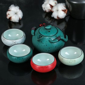 "Набор для чайной церемонии ""Краски"", 5 предметов: чайник 200 мл, 4 чашки 50 мл"