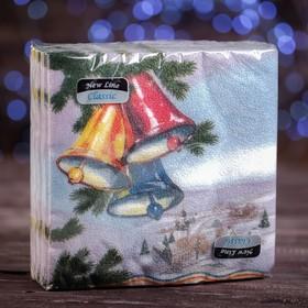 """Новогодние салфетки бумажные Classic """"Колокольчик"""", 1 слой, 33*33 см, 50 листов"""