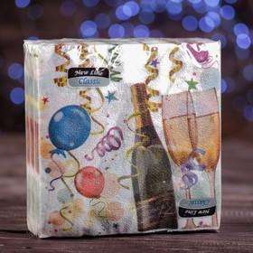 """Новогодние салфетки бумажные Classic """"Шампанское"""", 1 слой, 33*33 см, 50 листов"""