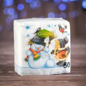 """Новогодние салфетки бумажные """"Гармония цвета многоцветие. Снеговик и дети"""", 24*24 см, 50 листов"""