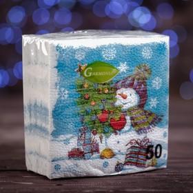 """Новогодние салфетки бумажные """"Гармония цвета многоцветие. Снеговичок"""", 24*24 см, 50 листов"""
