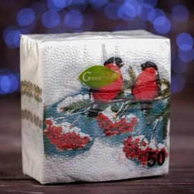 """Новогодние салфетки бумажные """"Гармония цвета многоцветие. Снегири"""", 24*24 см, 50 листов"""
