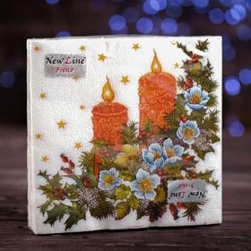 """Новогодние салфетки бумажные Fresco """"Свечи"""", 2 слоя, 33*33 см, 20 листов"""