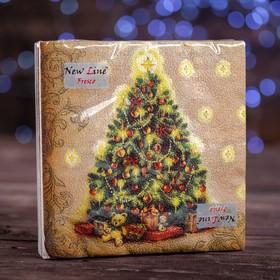"""Новогодние салфетки бумажные Fresco """"Новогодняя ель"""", 2 слоя, 33*33 см, 20 листов"""