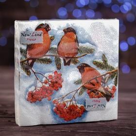 """Новогодние салфетки бумажные Fresco """"Снегири"""", 2 слоя, 33*33 см, 20 листов"""