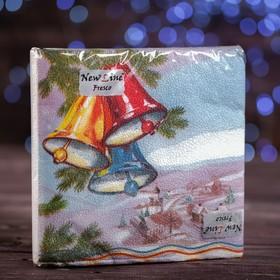 """Новогодние салфетки бумажные Fresco """"Колокольчик"""", 2 слоя, 33*33 см, 20 листов"""