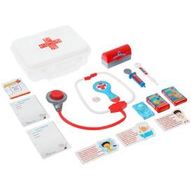 Игровой набор доктора в чемоданчике с карточками 'ДОКТОР+', 4 предмета Ош