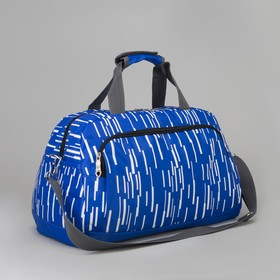 Bag sports Department with zipper, 3 exterior pockets, a long strap, blue