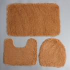 Набор ковриков для ванны и туалета Доляна «Плюшевый», 3 шт: 34×40, 40×50, 50×80 см, цвет бежевый - фото 7930510