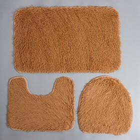 "Set of floor mats for bathroom and toilet ""Plush"", 3 PCs, beige"