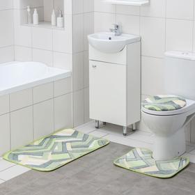 Набор ковриков для ванны и туалета Доляна «Геометрия», 3 шт: 35×39, 40×50, 50×80 см, цвет зелёный