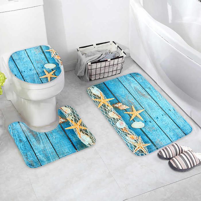 Набор ковриков для ванны и туалета «Морские звёзды», 3 шт: 35×39, 40×50, 45×75 см