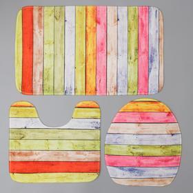 Набор ковриков для ванны и туалета «Цветные деревяшки», 3 шт: 40×40, 40×42, 45×75 см