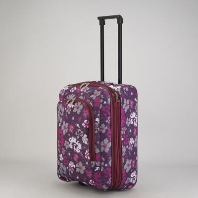 """Чемодан малый """"Цветы"""", отдел на молнии, наружный карман, цвет фиолетовый/бордовый"""