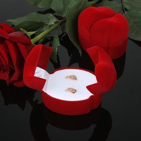 """Футляр под кольца и серьги """"Два сердца"""", 5,5*4,5*4,2, цвет красный"""
