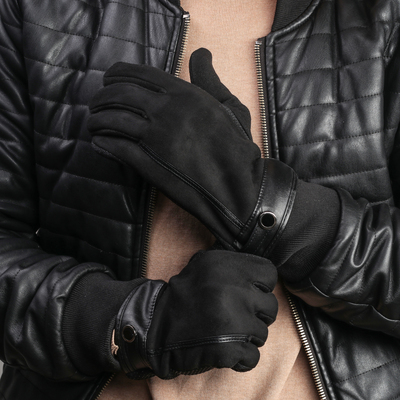Перчатки мужские безразмерные, без подклада, для сенсорных экранов, цвет чёрный
