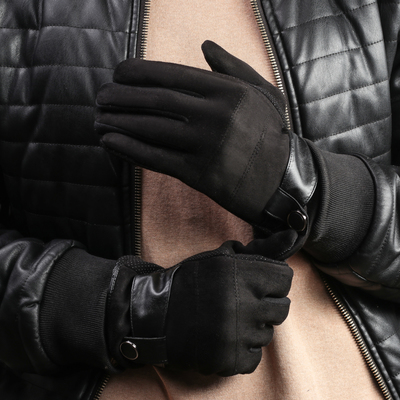 Men's oversized gloves, no padding, touch screen, color black