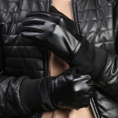 Gloves mens dimensionless, smooth, combined, without padding, touch screen, color black