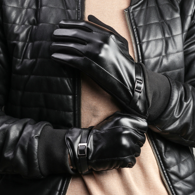 Перчатки мужские безразмерные, комбинированные, без подклада, для сенсорных экранов, цвет чёрный