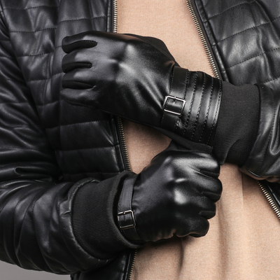 Gloves mens dimensionless, combined, without padding, touch screen, color black