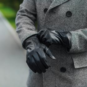 Перчатки мужские, р-р 11.5, подклад флис, цвет чёрный