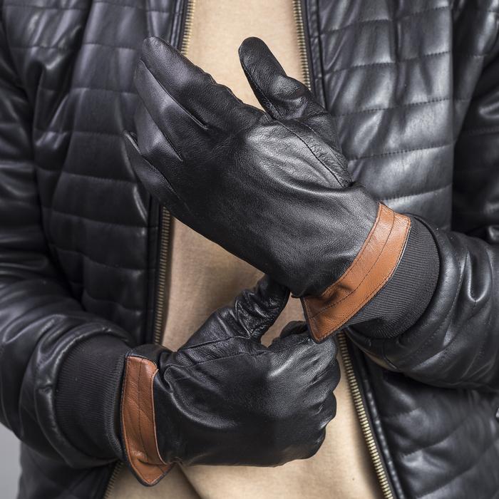 Перчатки мужские, размер 10, с утеплителем, цвет чёрный/коричневый
