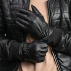 Перчатки мужские безразмерные, подклад искусственный мех, цвет чёрный