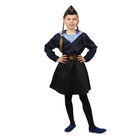Карнавальный костюм «Морячка в пилотке» для девочки, синяя фланка, юбка на резинке, ремень, р. 28, рост 98-104 см