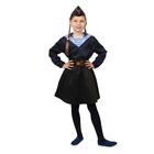 Карнавальный костюм «Морячка в пилотке» для девочки, синяя фланка, юбка, ремень, р. 32, рост 110-116 см