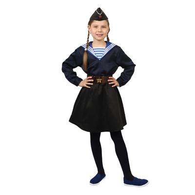 Карнавальный костюм «Морячка в пилотке» для девочки, синяя фланка, юбка, ремень, р. 32, рост 122-128 см