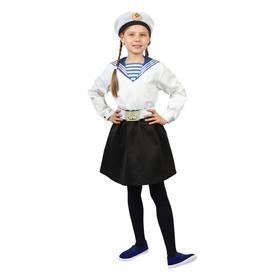 Карнавальный костюм «Морячка в бескозырке» для девочки, белая фланка, юбка, ремень, р. 30, рост 104-110 см