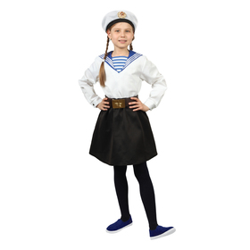Карнавальный костюм «Морячка в бескозырке» для девочки, белая фланка, юбка, ремень, р. 36, рост 140 см