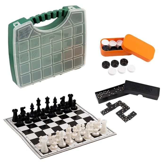 """Настольная игра 3 в 1 """"В дорогу"""": шахматы, домино, шашки (2 доски из картона 29х29 см)"""