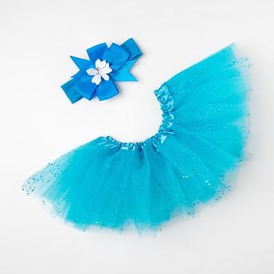 "Набор ""Снежинка"" юбка и повязка на голову, голубой"