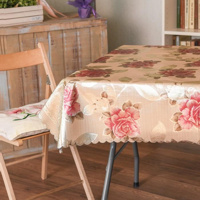 Скатерть Адель «люкс», 150х220 см, цветы МИКС, ВМГО на тканевой основе, 100% полиэстер