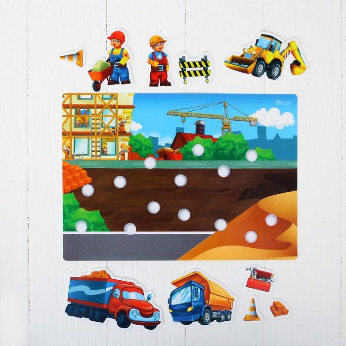 Игра на липучках, конструктор «На стройке», Весёлые липучки МИНИ, 10 деталей, размеры деталей: 7 × 9 см; 4 × 3 см - фото 440320