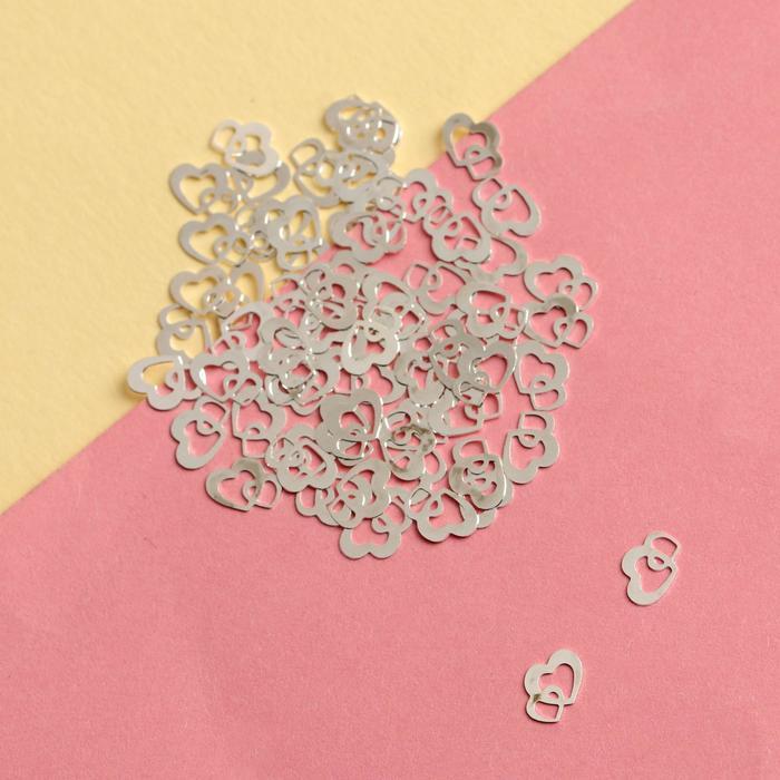 Декоративные элементы для ногтей «Два сердца», 0,6 × 0,6 см, 100 шт, цвет серебристый