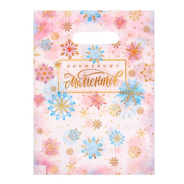 Пакет подарочный полиэтиленовый «Волшебных моментов», 23 × 29,5 см
