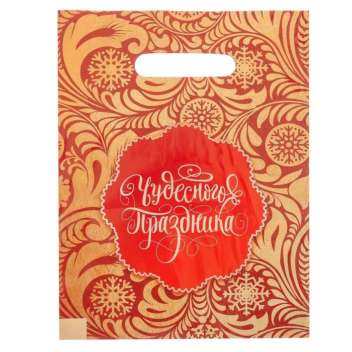Пакет подарочный полиэтиленовый «Золотые узоры», 23 × 29,5 см