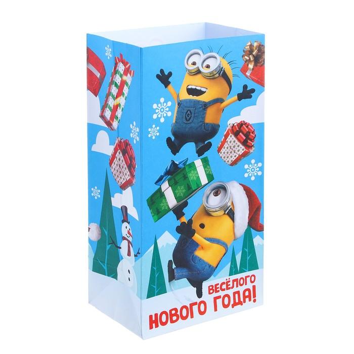 """Пакет подарочный без ручек """"Веселого нового года!"""" Гадкий Я,10 х19.5 х7 см"""