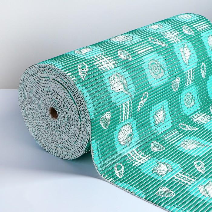 Коврик для ванной комнаты «Морской», 0,65×15 см, ПВХ, цвет зелёный - фото 920021