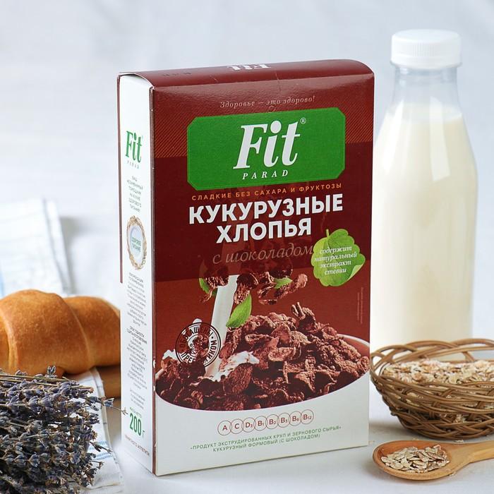 Fitparad Кукурузные хлопья с шоколадом 200 г (коробка) - фото 16345