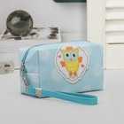 Cosmetic bag road, division zipper, with handle, blue color
