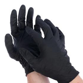 Перчатки нитриловые неопудренные S 4 гр 'Black atlas', 100 шт(50 пар)/кор, цвет черный Ош