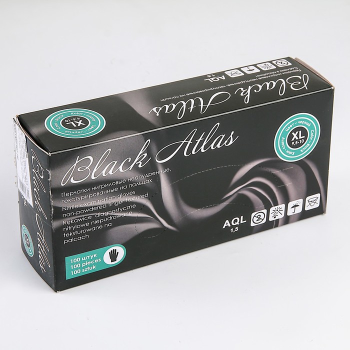 """Перчатки нитриловые неопудренные L """"Black atlas"""", 100 шт/уп, цвет чёрный"""